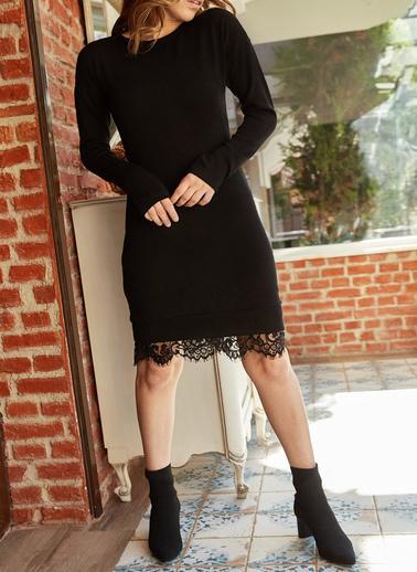 XHAN Etek Ucu Dantelli Elbise 9Yxk6-41953-02 Siyah